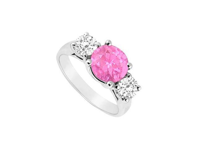 Created Pink Sapphire and Cubic Zirconia Three Stone Ring .925 Sterling Silver 2.50 CT TGW