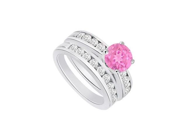 Pink Sapphire  Diamond Engagement Ring with Wedding Band Sets 14K White Gold  1.25 CT TGW