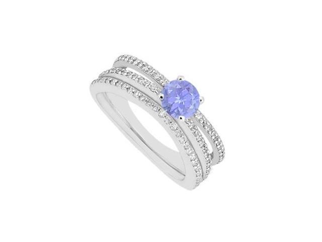 Tanzanite Engagement Ring with Diamonds Wedding Band Sets in 14K White Gold 1.15 Carat TGW
