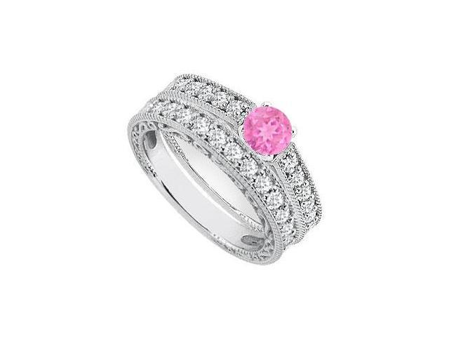 Diamond Pink Sapphire Engagement Ring with Diamond Bands in White Gold 14K 1.40 Carat TGW