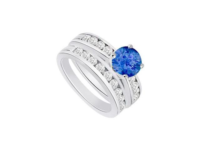 Sapphire  Diamond Engagement Ring with Wedding Band Sets 14K White Gold  1.25 CT TGW