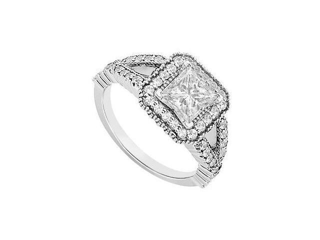 1 Carat Engagement Ring with Diamond Type Princess Cut CZ in 14K White Gold