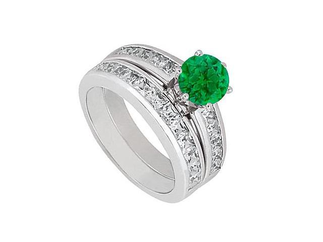 14K White Gold Green Emerald Engagement Ring with Princess Cut Diamonds Bands of 3 Carat TGW