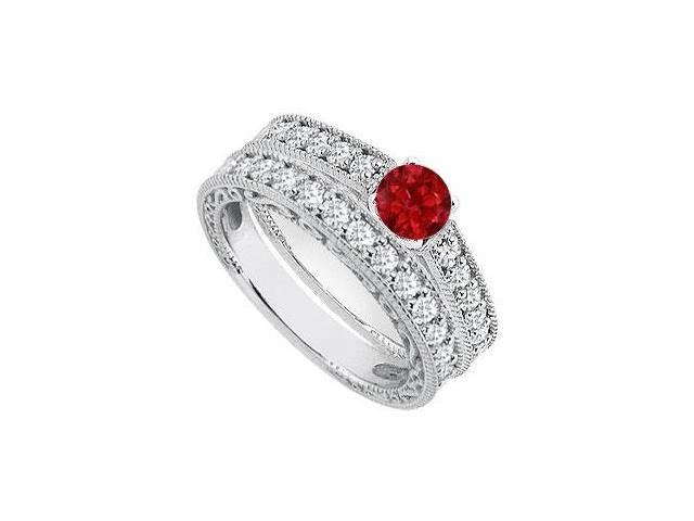 14K White Gold Natural Ruby Engagement Ring with Diamond Bands Sets of 1.40 Carat TGW