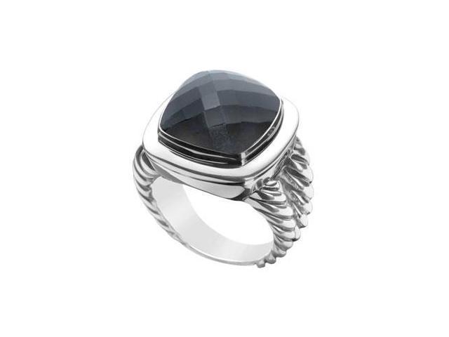 Black Onyx Rope Ring  14K White Gold - 10.00 CT TGW
