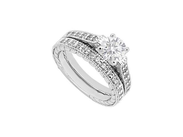 1 Carat Diamond Engagement Ring with Wedding Band Set in 14K White Gold