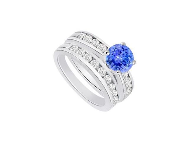 Tanzanite  Diamond Engagement Ring with Wedding Band Sets 14K White Gold  1.25 CT TGW