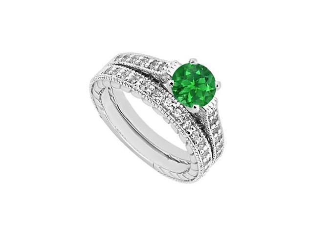 Diamond and Emerald 14K White Gold Engagement Ring with Wedding Band Set 1.25 Carat Total Weight