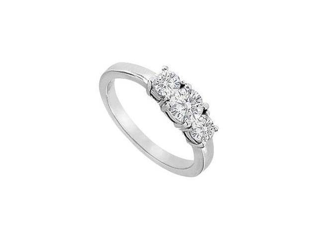 14K white Gold Three Stone Engagement Ring of CZ with 1 Carat Total Gem Weight