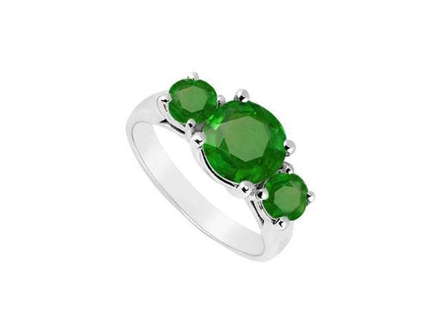 Sterling Silver Frosted Emerald Three Stone Ring 2.50 Carat Total Gem Weight