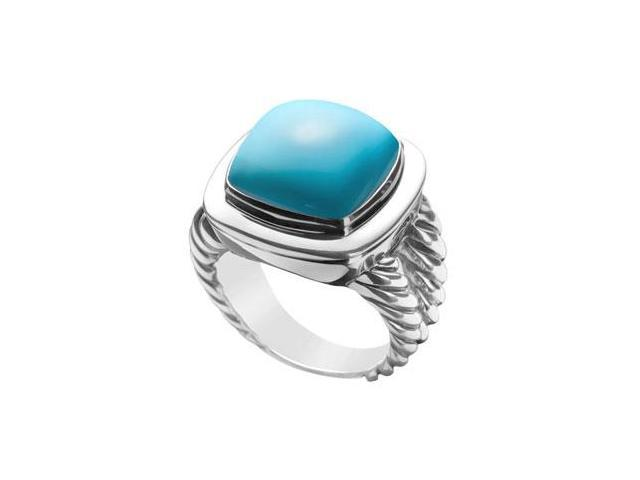 Turquoise Rope Ring  14K White Gold - 10.00 CT TGW