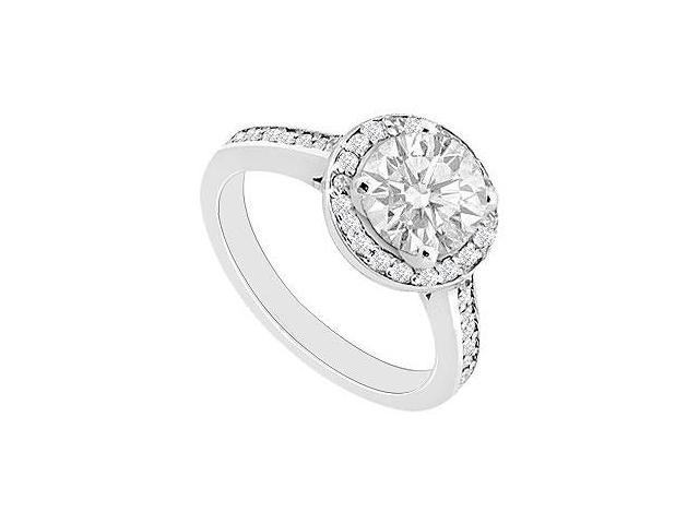 1 Engagement Ring of Triple AAA Quality CZ in 14K White Gold High Polish