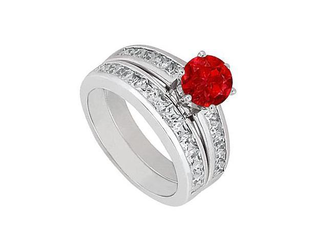 Princess Cut Diamond with Natural Ruby Wedding Engagement Ring Set in 14K White Gold 3 Carat TGW