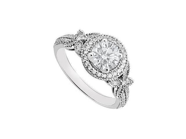14K White Gold Triple AAA Quality Cubic Zirconia 1 Carat Engagement ring