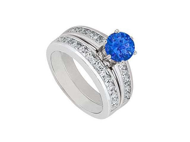 3 Carat Engagement ring with Wedding Band Sets of Diamond and Natural Sapphire in 14K White Gold