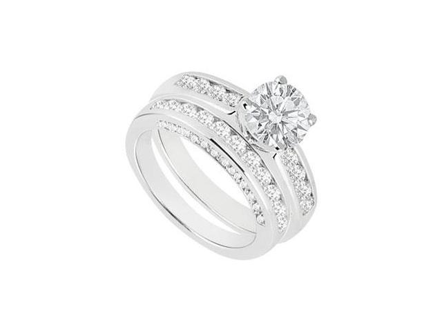 Diamond Engagement Ring with Wedding Band Sets 14K White Gold  1.80 CT TDW
