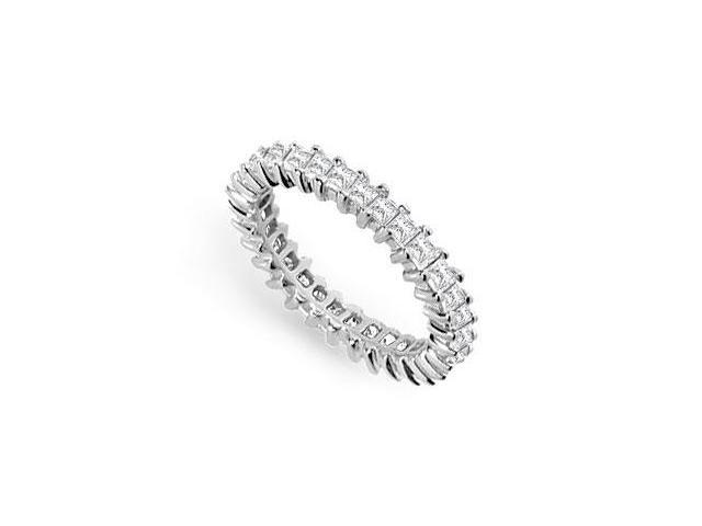 Eternity Wedding Bands 2ct. Princess Cut AAA CZ Eternity Band Prong Set on 925 Sterling Silver