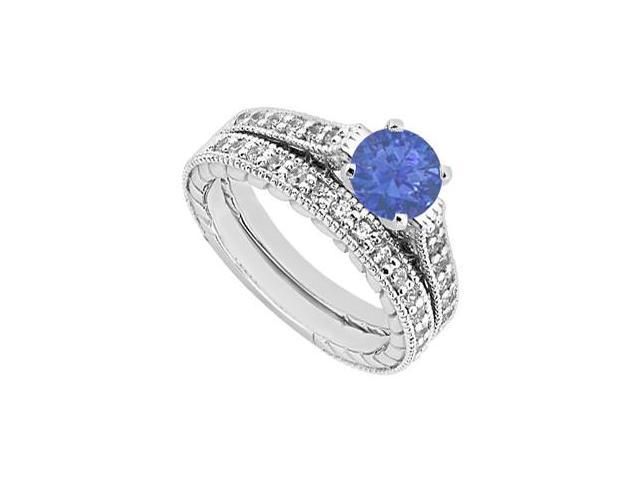14K White Gold Engagement Ring and Wedding Band Set in Diamonds and Sapphire 1.25 Carat TGW