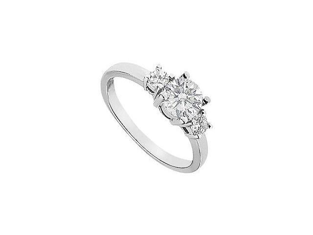 Three Stone CZ Engagement Ring in 14K White Gold 1.50 Carat Total Gem Weight