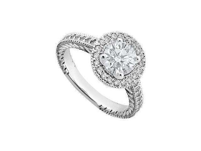 Cubic Zirconia Engagement Ring in 14K White Gold One Carat Total Gem Weight