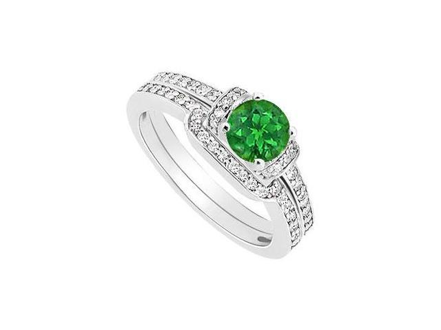Emerald and Diamond Engagement Ring with Wedding Band Set  14K White Gold - 0.60 CT TGW