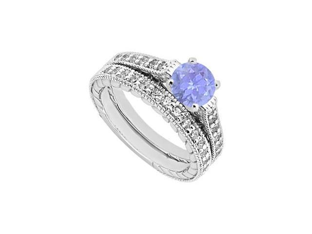 Diamond and Tanzanite Engagement Ring with Wedding Band Set in 14K White Gold 1.25 Carat TGW