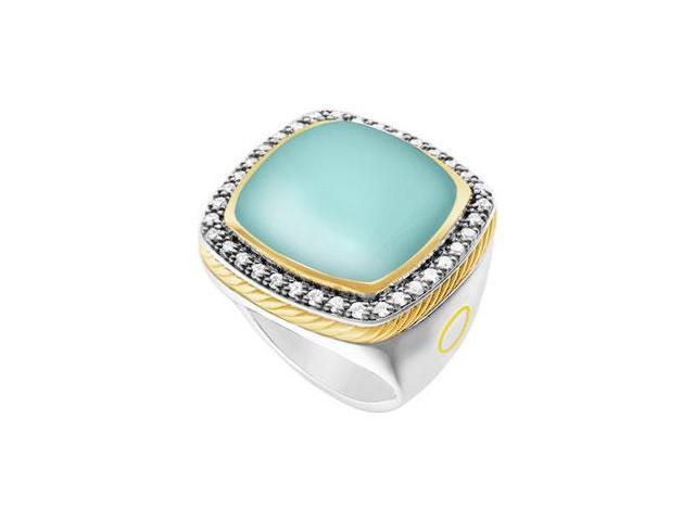 Aqua Chalcedony and Diamond Rope Ring  14K White Gold - 10.50 CT TGW