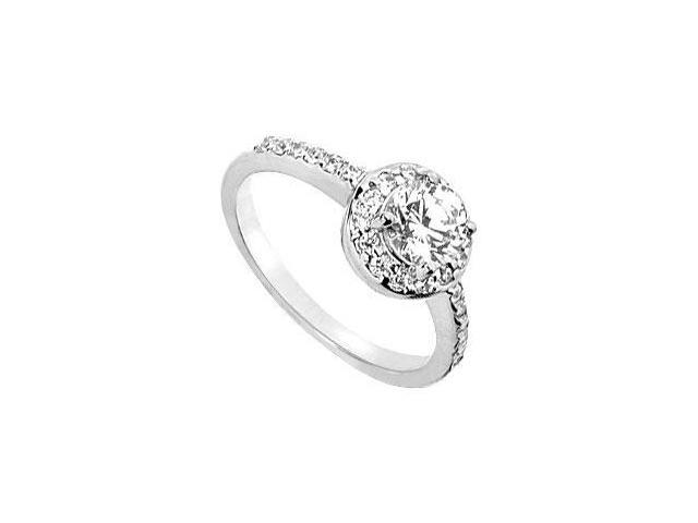 1 Carat Engagement Ring in 14K White Gold Three Stone Triple AAA Quality Cubic Zirconia