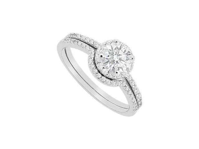 Round Halo Diamond Engagement Ring with Wedding Band Sets in 14K White Gold 0.90 Carat Diamonds