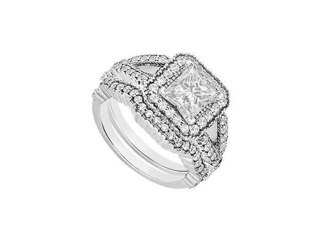 Cubic Zirconia Engagement Ring with Wedding Bands Set in 14K White Gold Two Carat TGW
