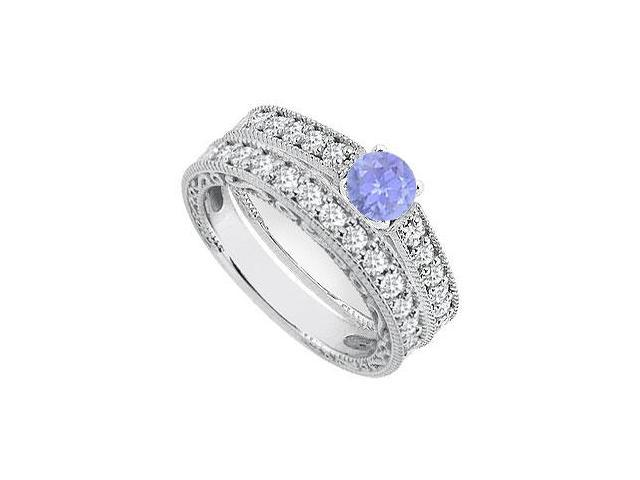 Diamond Tanzanite Engagement Ring with Diamond Band Sets in 14K White Gold 1.40 Carat TGW