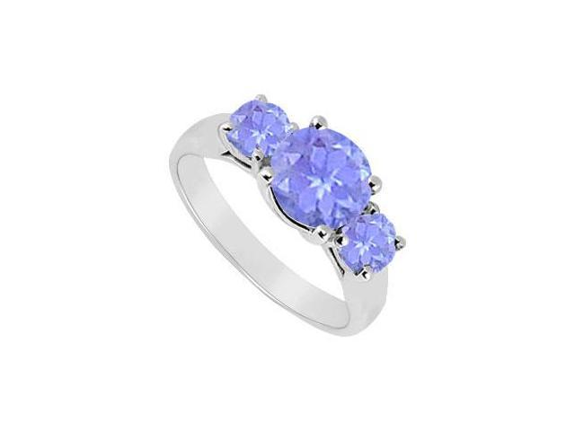 Sterling Silver Created Tanzanite Three Stone Ring 2.50 CT TGW