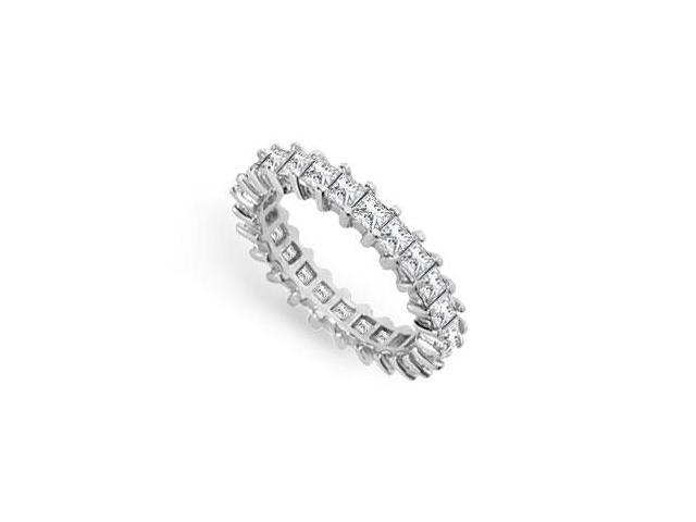 Eternity Wedding Bands Princess Cut AAA CZ Eternity Band Prong Set on Sterling Silver. 3CT. TGW