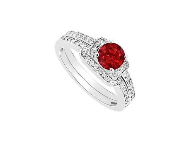 Ruby and Diamond Engagement Ring with Wedding Band Set  14K White Gold - 0.60 CT TGW