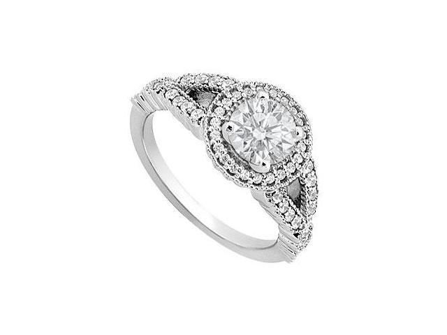 Engagement Ring in 14K White Gold Cubic Zirconia of 1 Carat Total Gem Weight
