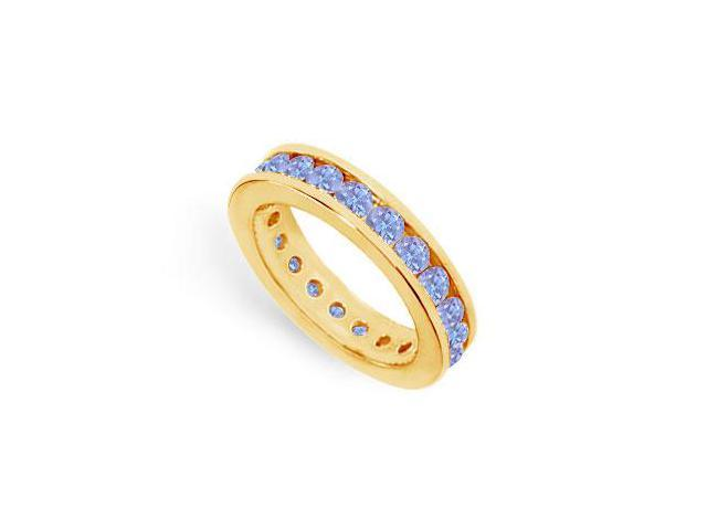 2ct Created Tanzanite Eternity Band in Channel Setting on 18K Yellow Gold Vermeil