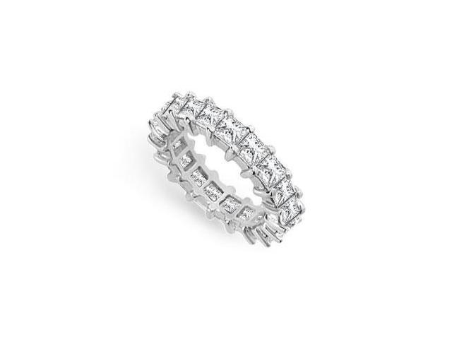 Eternity Wedding Bands Princess Cut AAA CZ Eternity Band on 925 Sterling Silver. 4 CT. TGW