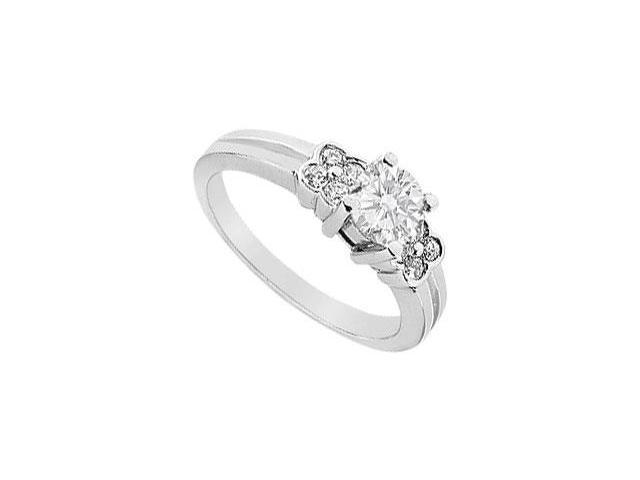 CZ Engagement Ring in White Gold 14K Total Gem Weight of 0.75 Carat