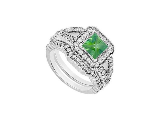 Created Emerald and CZ Engagement Ring with Wedding Bands Set in 14K White Gold Two Carat TGW