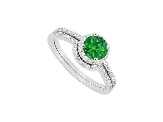 Emerald Halo Engagement Ring and Diamonds Wedding Band Sets in 14K White Gold 1.15 Carat TGW