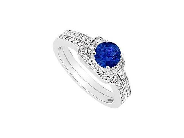 Sapphire and Diamond Engagement Ring with Wedding Band Set  14K White Gold - 0.60 CT TGW