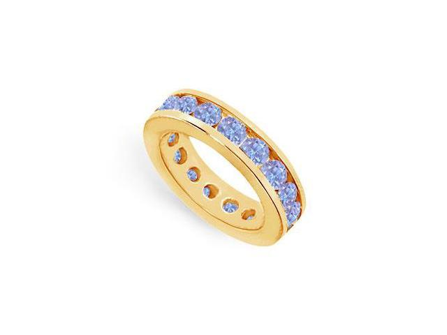 Four Carat Created Tanzanite Eternity Band Channel Set Over 18K Yellow Gold Vermeil