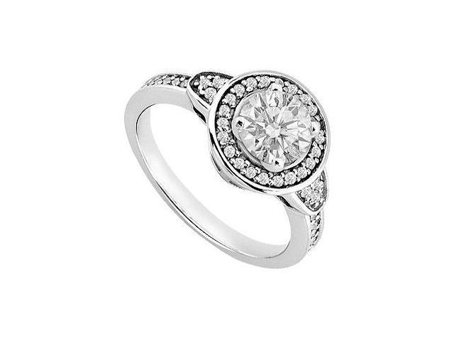 14K White Gold Triple AAA Quality Cubic Zirconia Total Gem Weight of 1 Carat Engagement Ring