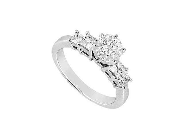 1 Carat Engagement Ring in 14K White Gold Round and Princess Cut Cubic Zirconia in Prong Setting