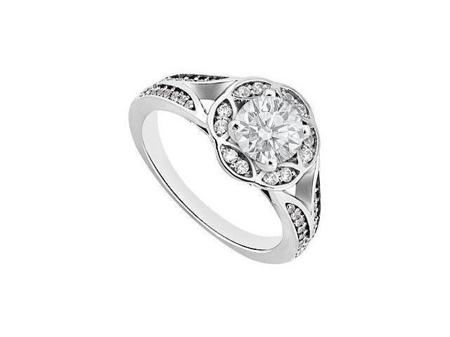 Engagement Ring in 14K White Gold Floral Design with CZ 1 Carat Total Gem Weight
