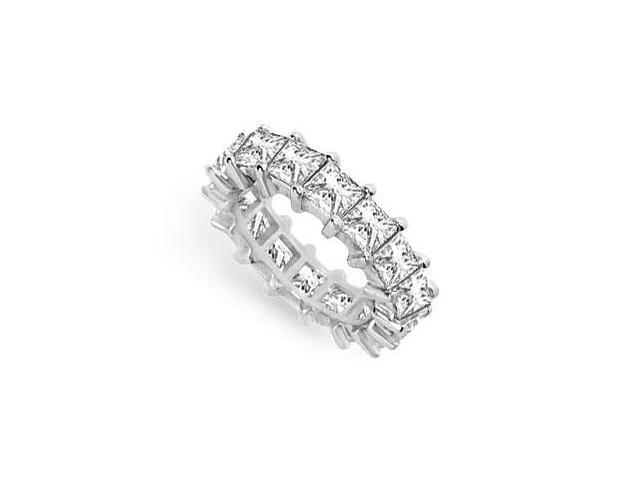 5 Carat CZ Wedding Bands Princess Cut AAA CZ Eternity Band Prong Set on 925 Sterling Silver