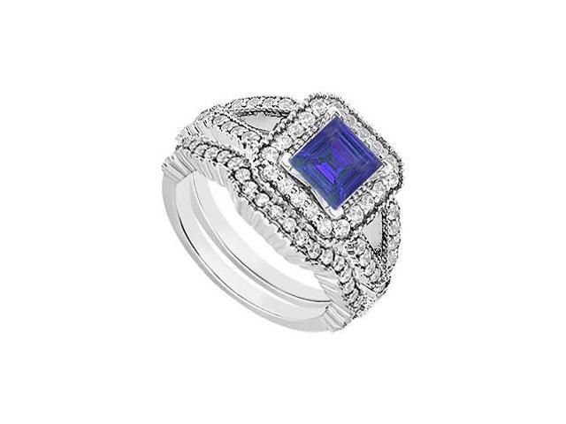 Engagement Ring with Wedding Bands Set of Created Sapphire and CZ in 14K White Gold. 2 CT. TGW