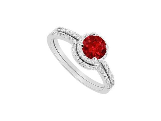 Ruby Halo Engagement Ring with Diamonds Wedding Band Sets in 14K White Gold 1.15 Carat TGW