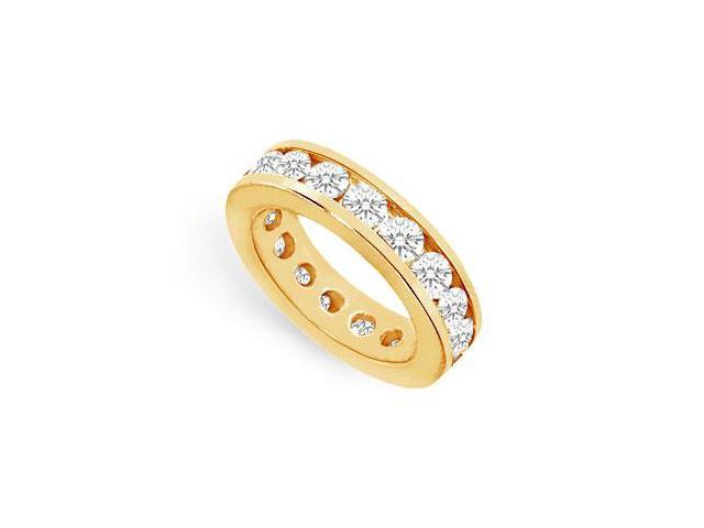 Five Carat CZ Eternity Band in 18K Yellow Gold Vermeil Channel Set