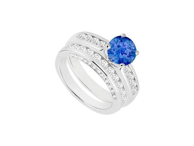 Sapphire  Diamond Engagement Ring with Wedding Band Sets 14K White Gold  1.80 CT TGW